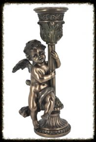 Stunning Bronze Effect Angel Candle Holder in Baroque Style